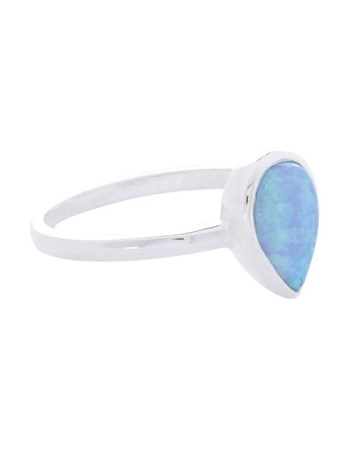 Sterling Silver Pear Czelline Opal Fine Ring image 2