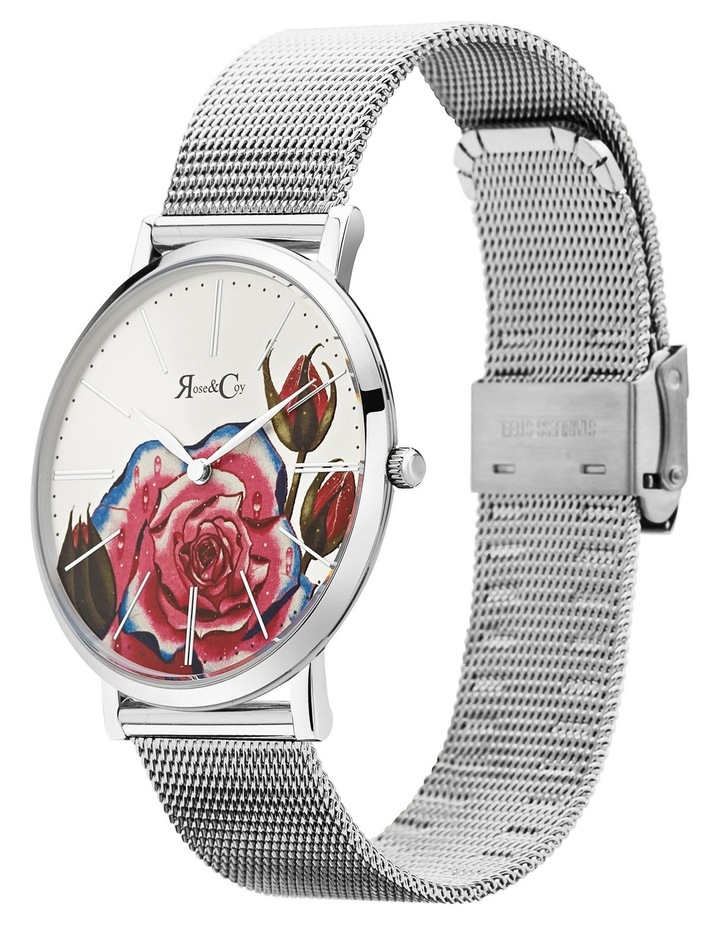 RCA0202 Art Series Pink Rose Silver Watch image 2
