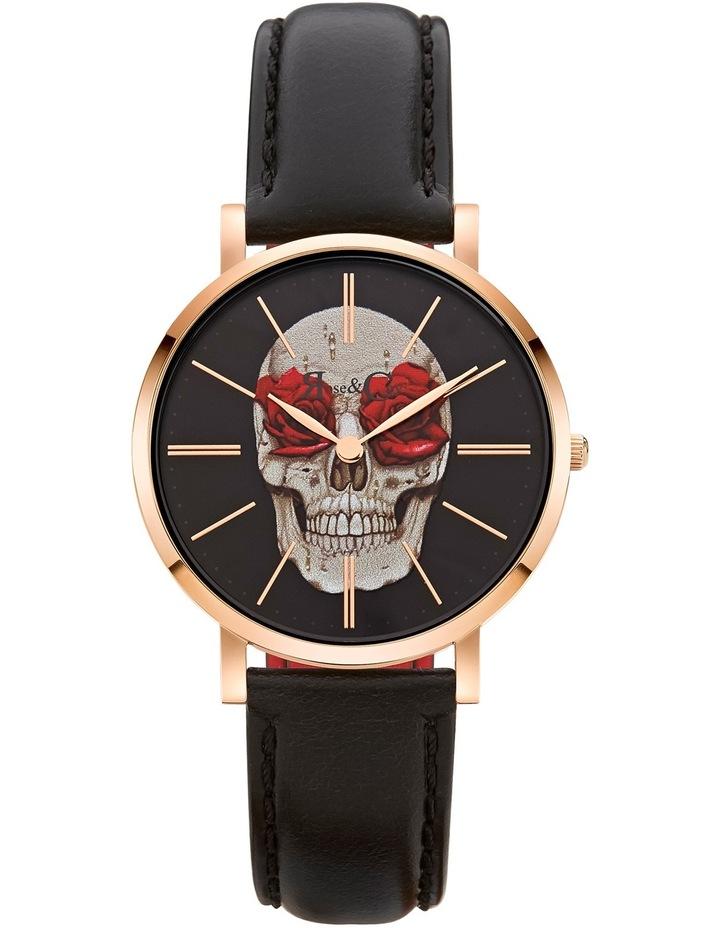RCAM0101 Art Series Skull & Rose Rose Gold And Black Watch image 1
