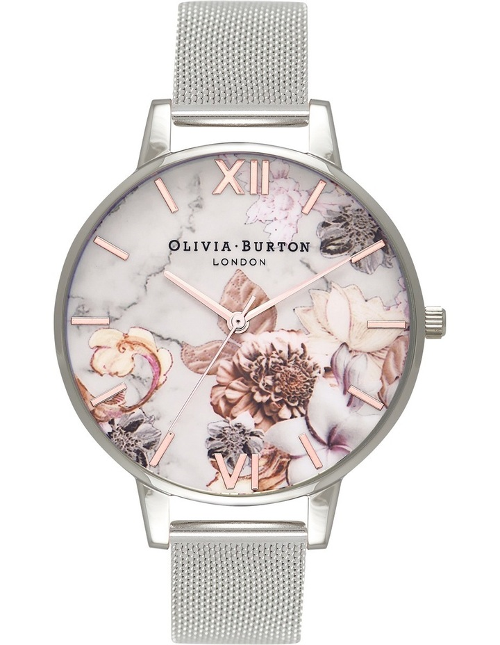 OB16CS10 Marble Florals Silver Watch image 1