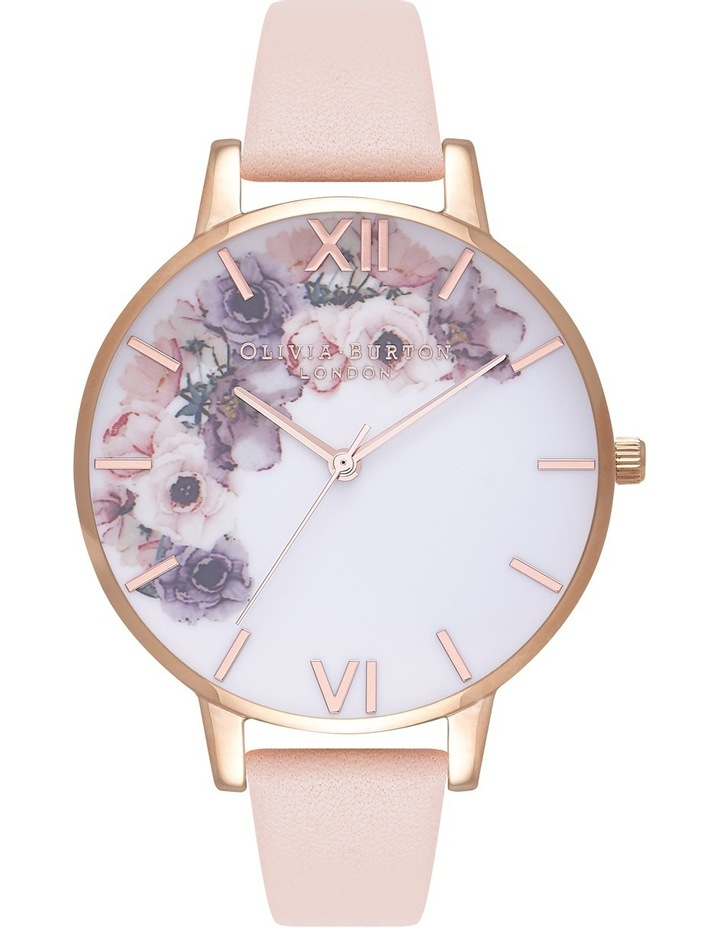 Watercolours Florals Big Dial Peach Strap Watch OB16PP30 image 1