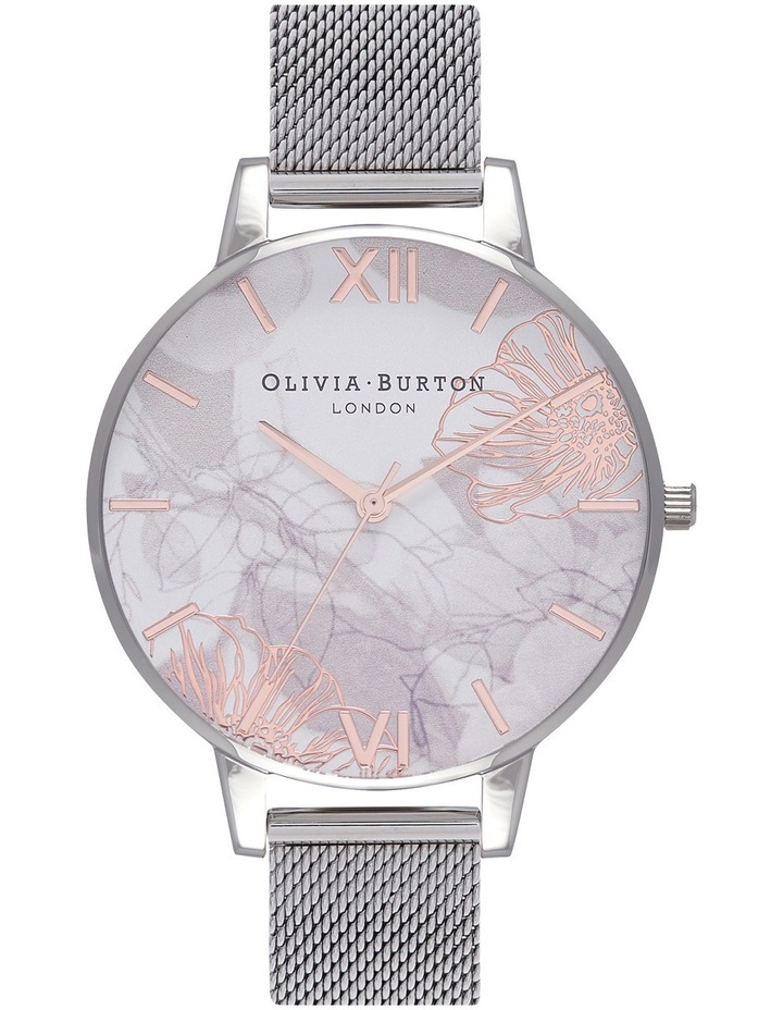 Abstract Florals Silver Mesh Watch OB16VM20 image 1