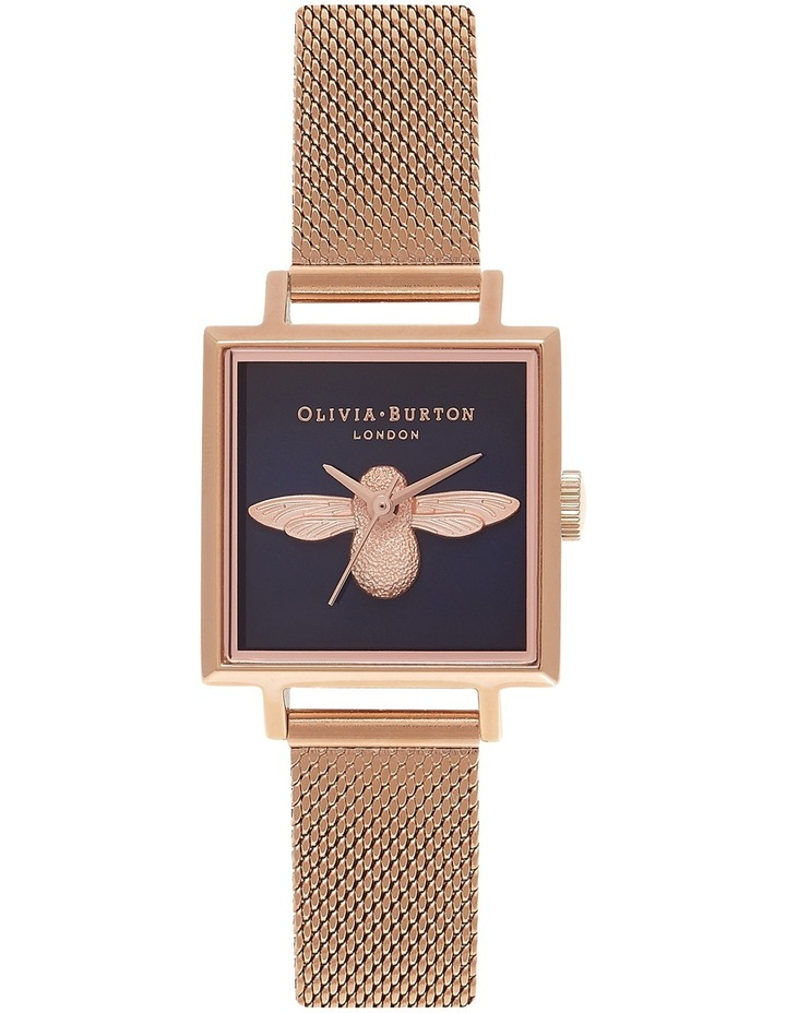 3D Bee Square Dial Rose Gold Mesh Watch OB16AM96 image 1