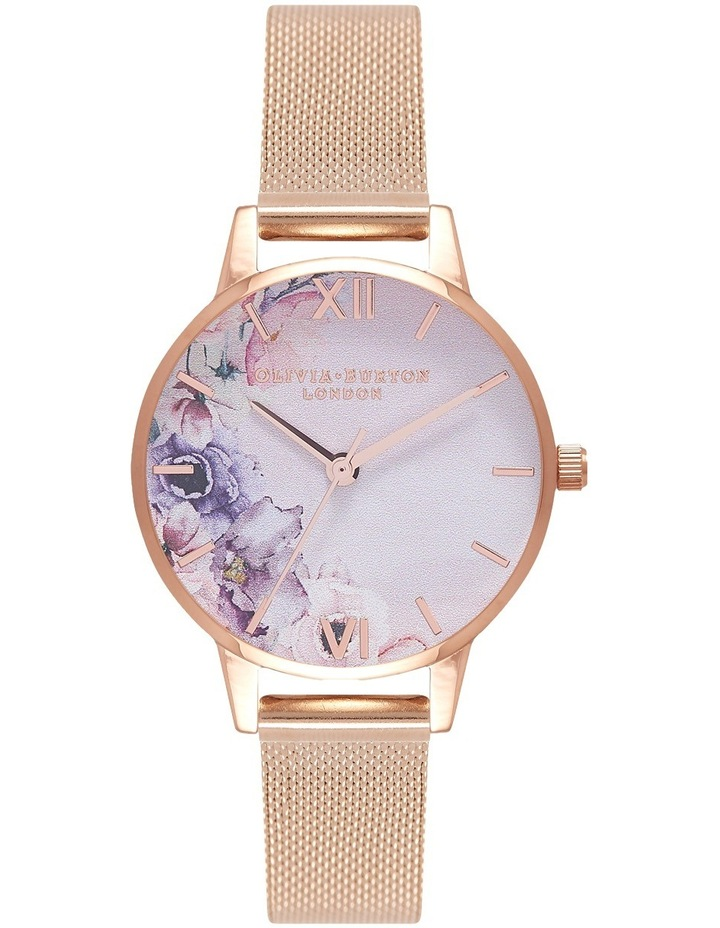 Watercolour Florals Rose Gold Mesh Watch OB16PP39 image 1