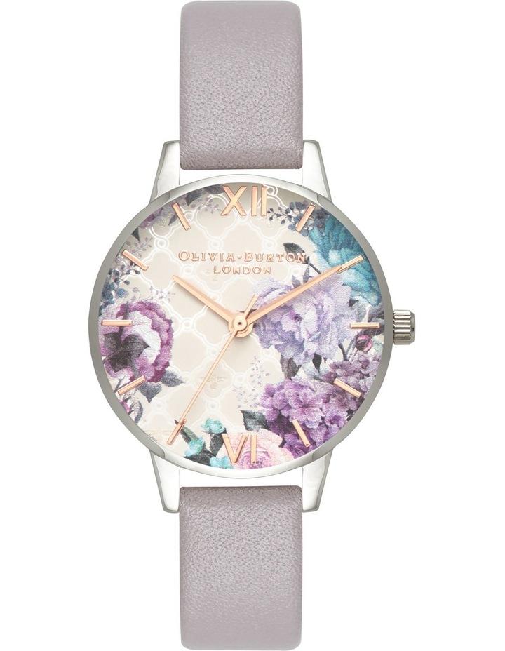 Floral Design, Silver Case, Grey Lilac Strap image 1