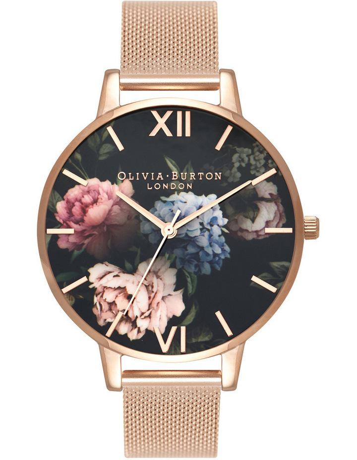 Floral Design Black Dial Rose Gold Mesh Strap image 1