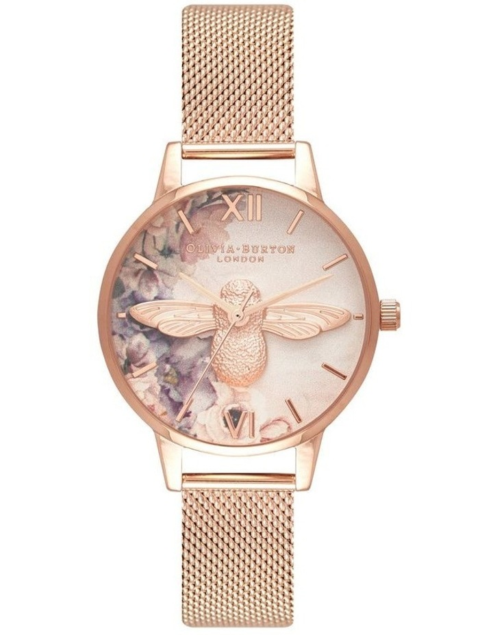 Ob16Pp40 Watercolour Florals Collection Rose Gold Case Rose Gold Mesh Strap image 1