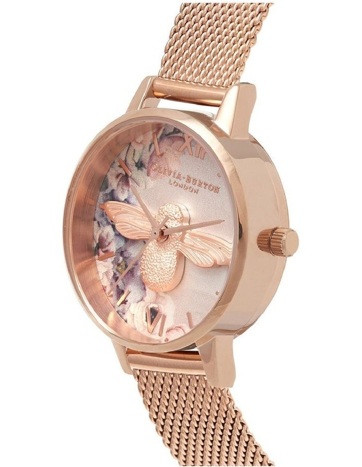 Ob16Pp40 Watercolour Florals Collection Rose Gold Case Rose Gold Mesh Strap image 2