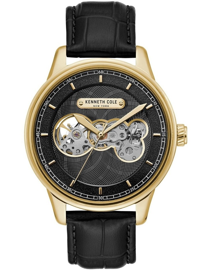 KC51020003 Skeleton Automatic Mens Black and Gold Watch image 1