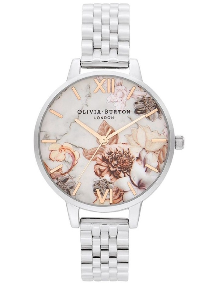 OB16CS31 Marble Florals Silver Watch image 1
