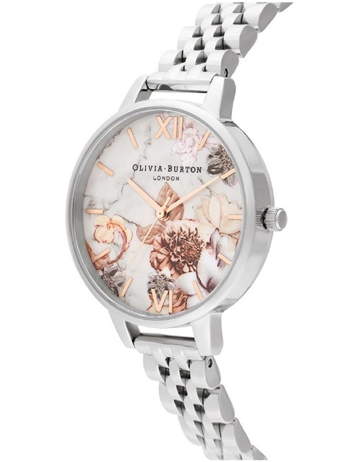 OB16CS31 Marble Florals Silver Watch image 2