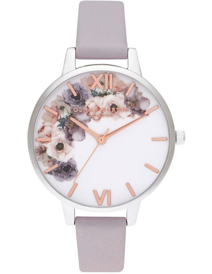 OB16PP56 Watercolour Florals Silver & Grey Lilac Watch image 1