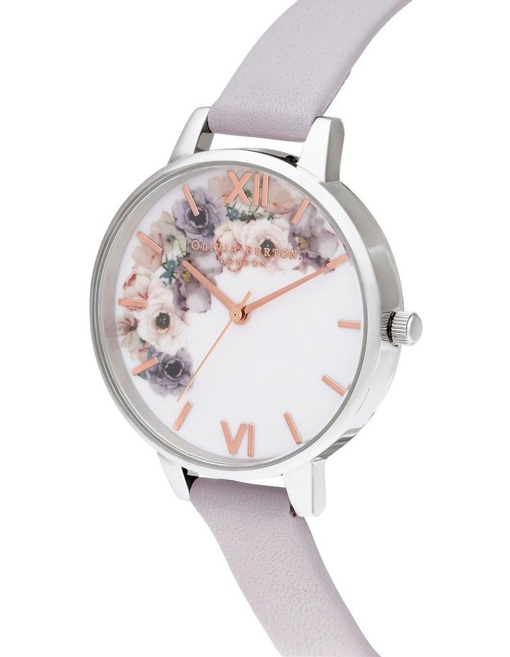 OB16PP56 Watercolour Florals Silver & Grey Lilac Watch image 2