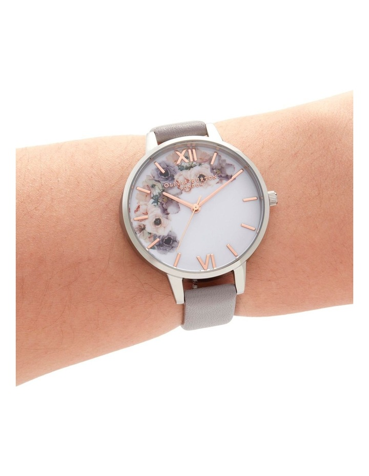 OB16PP56 Watercolour Florals Silver & Grey Lilac Watch image 3