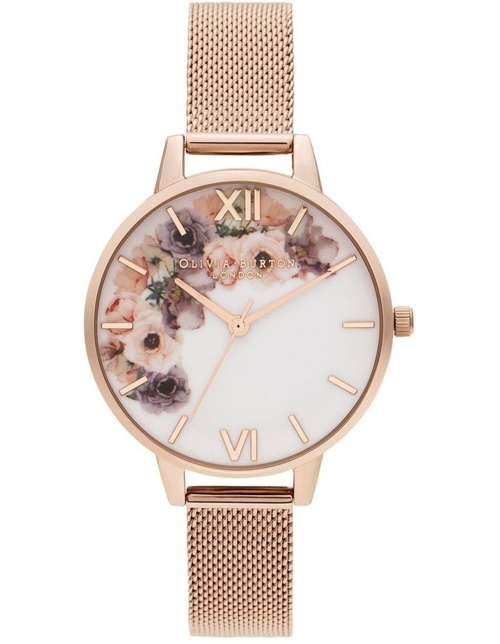 OB16PP57 Watercolour Florals Rose Gold  Watch image 1