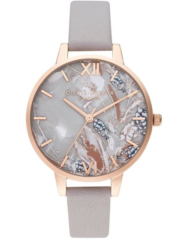 OB16VM37 Abstract Florals Rose Gold & Grey Lilac Watch image 1