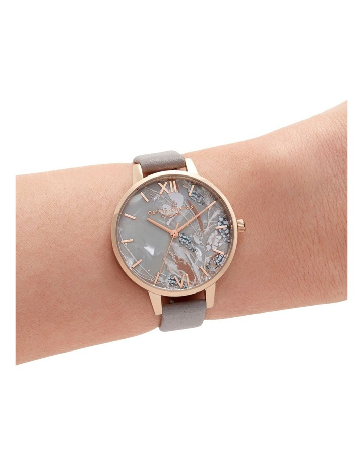 OB16VM37 Abstract Florals Rose Gold & Grey Lilac Watch image 3