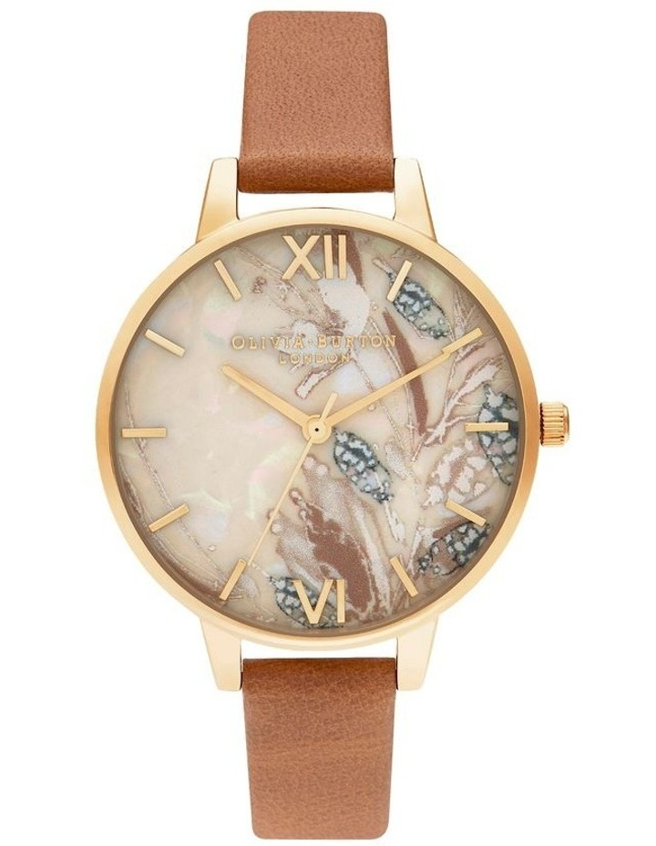 OB16VM39 Abstract Florals Gold & Honey Tan Watch image 1