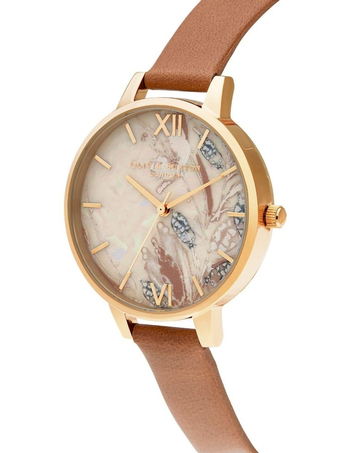 OB16VM39 Abstract Florals Gold & Honey Tan Watch image 2
