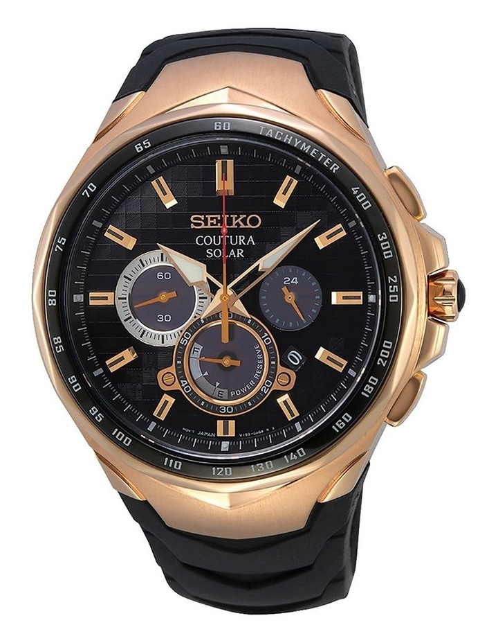 SSC768P Gents Solar Chronograph Rose Gold Silicon Strap Watch image 1