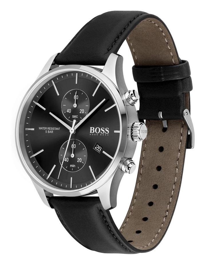 Black Leather Men's Watch - 1513790 image 2