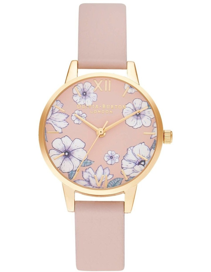 OB16AN04 Groovy Blooms Vegan Candy Pink & Gold Watch image 1