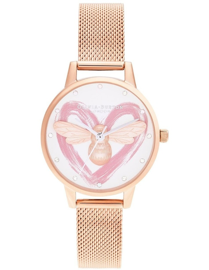 OB16FB01 You Have My Heart Lucky Bee, Silver & Rose Gold Mesh Watch image 1