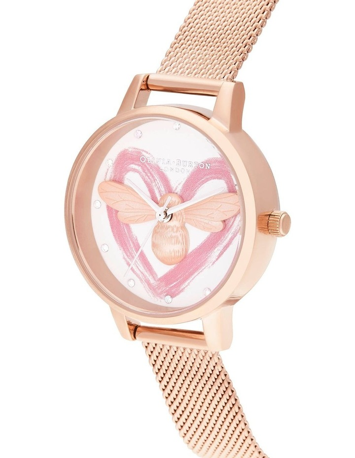 OB16FB01 You Have My Heart Lucky Bee, Silver & Rose Gold Mesh Watch image 2