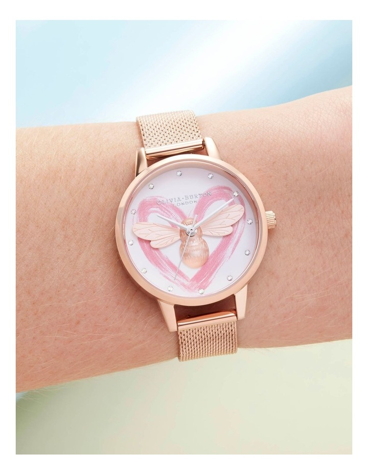 OB16FB01 You Have My Heart Lucky Bee, Silver & Rose Gold Mesh Watch image 3