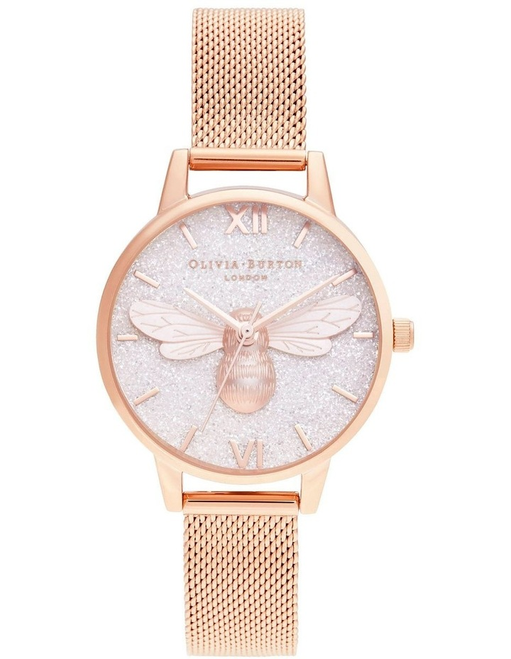 OB16FB04 Glitter Dial Lucky Bee & Rose Gold Mesh Watch image 1
