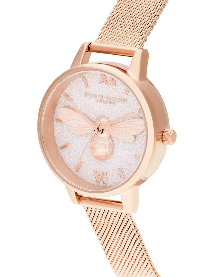 OB16FB04 Glitter Dial Lucky Bee & Rose Gold Mesh Watch image 2