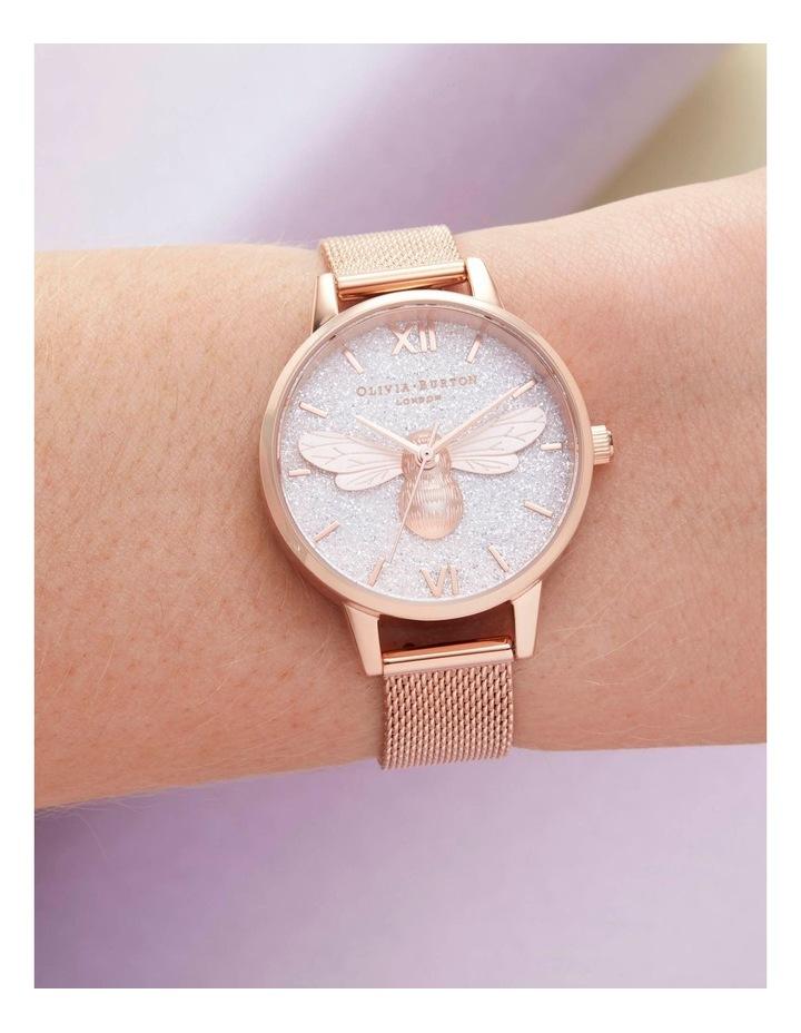 OB16FB04 Glitter Dial Lucky Bee & Rose Gold Mesh Watch image 3