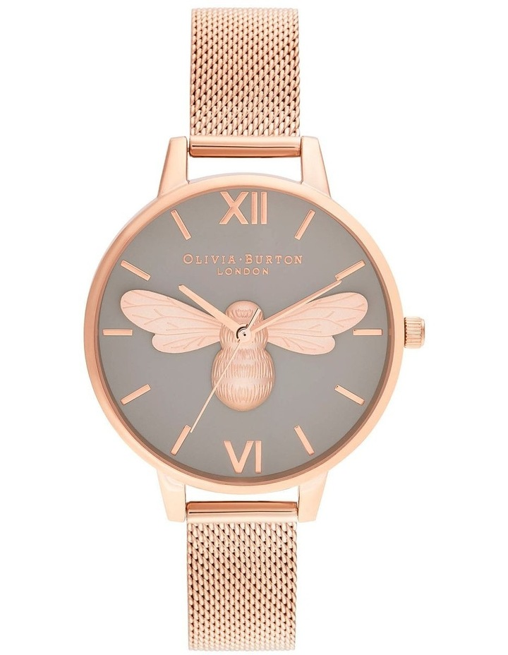 OB16FB10 Lucky Bee, Grey Dial & Rose Gold Mesh Watch image 1