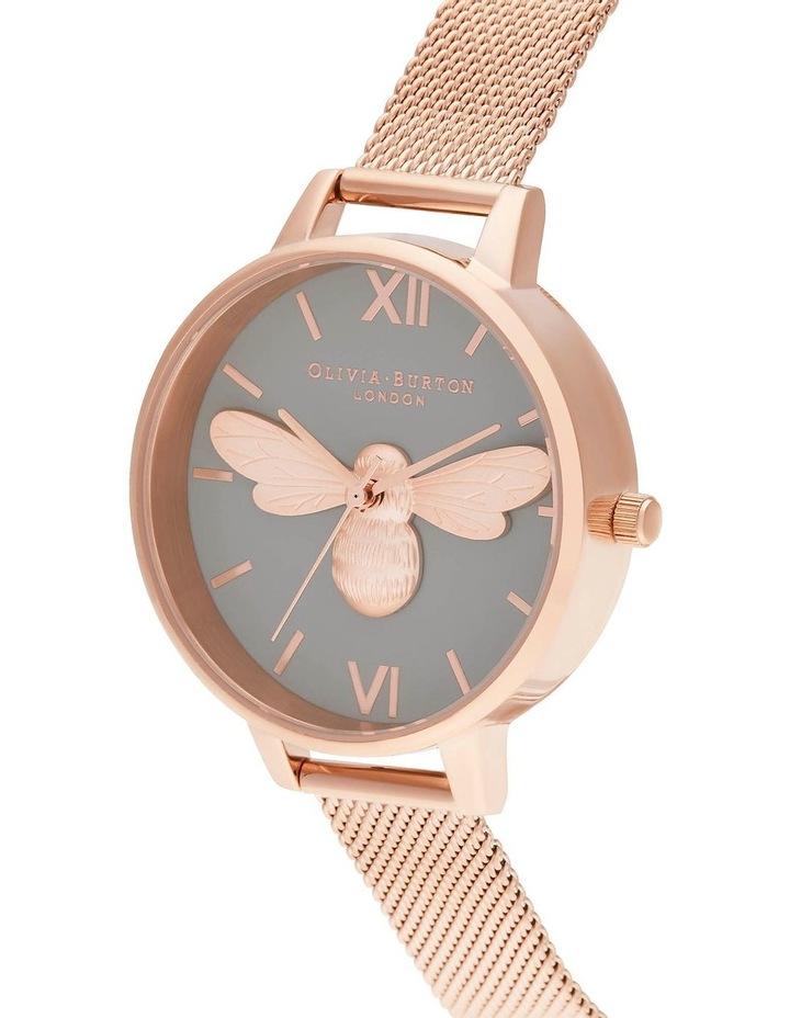 OB16FB10 Lucky Bee, Grey Dial & Rose Gold Mesh Watch image 2