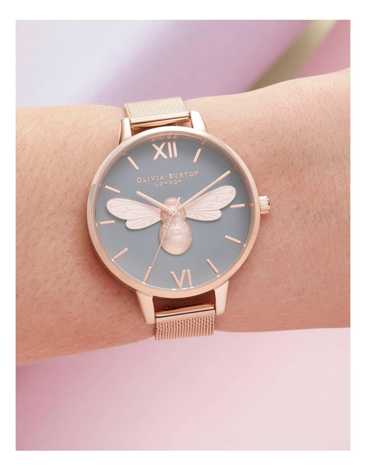 OB16FB10 Lucky Bee, Grey Dial & Rose Gold Mesh Watch image 3