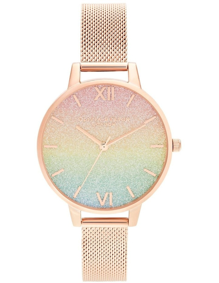 OB16RB18 Rainbow Glitter Dial & Rose Gold Mesh Watch image 1