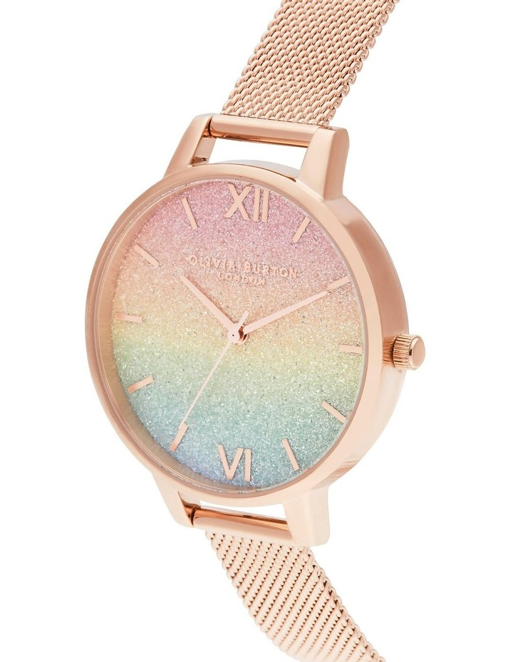 OB16RB18 Rainbow Glitter Dial & Rose Gold Mesh Watch image 2