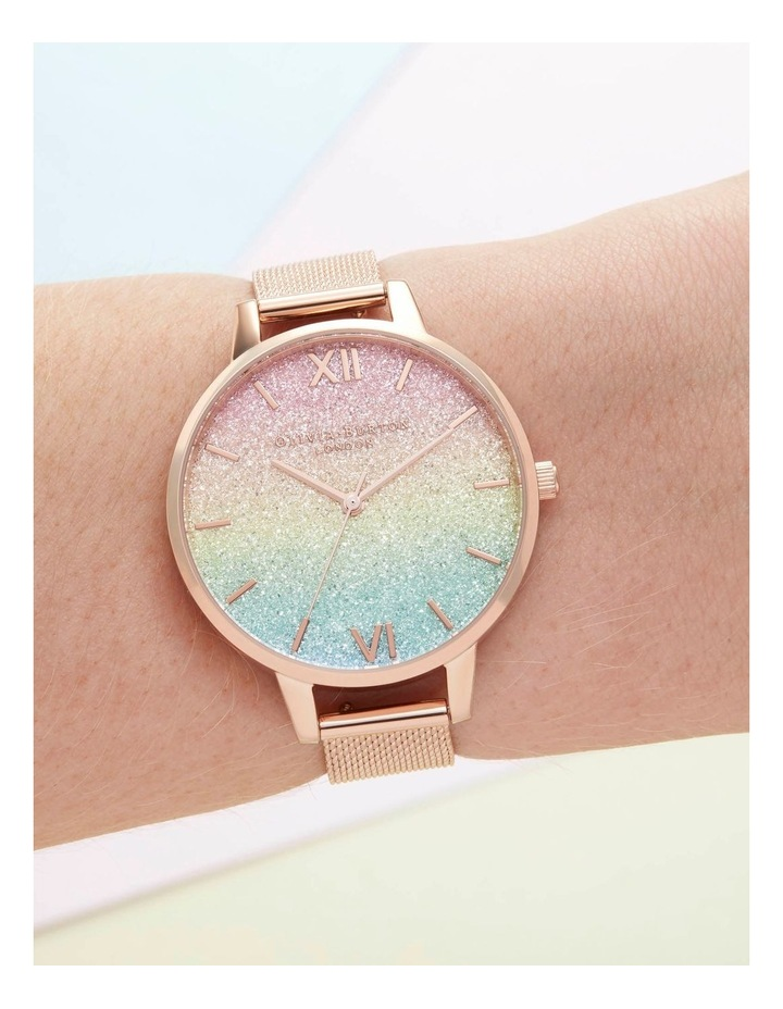 OB16RB18 Rainbow Glitter Dial & Rose Gold Mesh Watch image 3