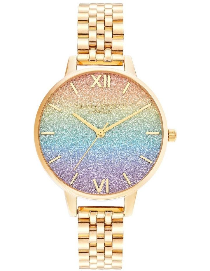 OB16RB23 Rainbow Glitter Dial & Gold Bracelet Watch image 1