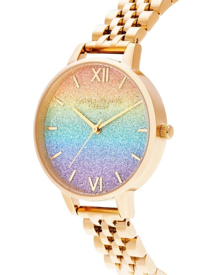 OB16RB23 Rainbow Glitter Dial & Gold Bracelet Watch image 2
