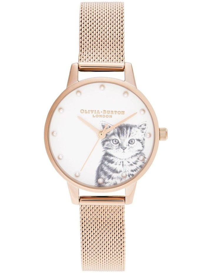 OB16WL88 Illustrated Animals Pearly Kitten, Pale Rose Gold Mesh Watch image 1