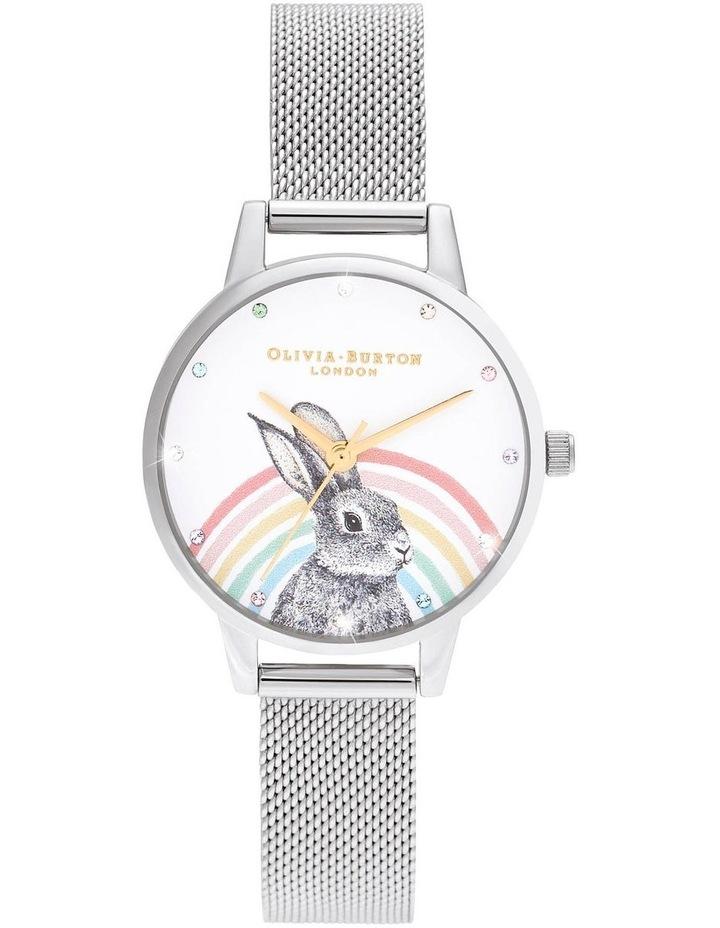 OB16WL89 Illustrated Animals Rainbow Bunny, Gold & Silver Mesh Watch image 1