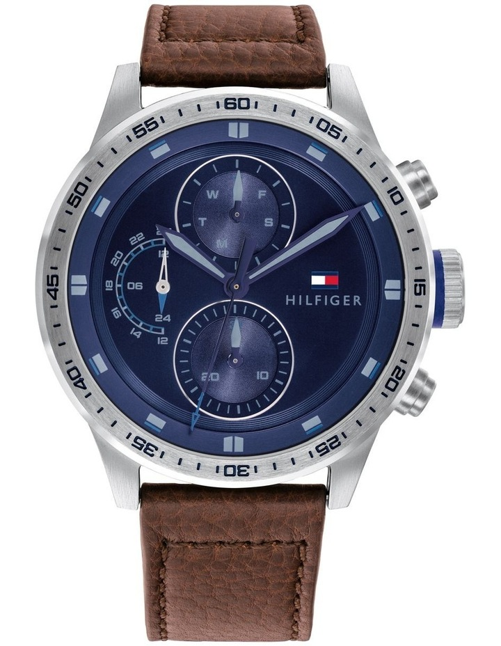 Tommy Hilfiger Brown Leather Blue Dial Men's Multi-function Watch - 1791807 image 1
