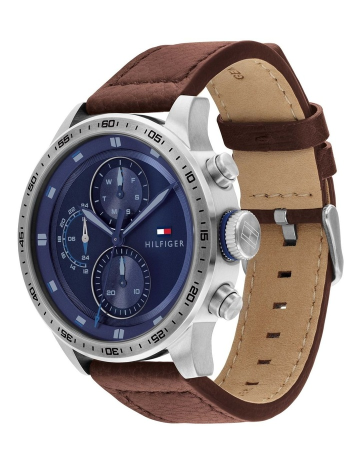 Tommy Hilfiger Brown Leather Blue Dial Men's Multi-function Watch - 1791807 image 2