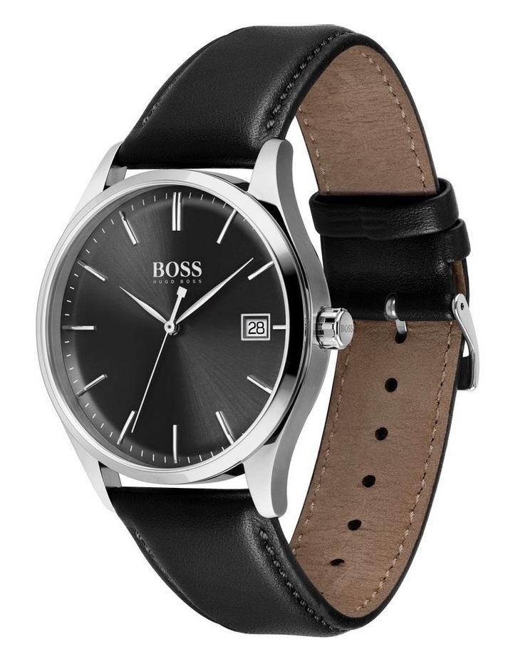 Quartz Black Leather Men's Watch image 1