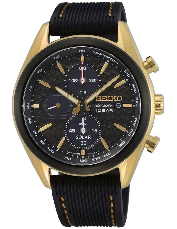 Solar Chronograph Black and Gold Watch image 1