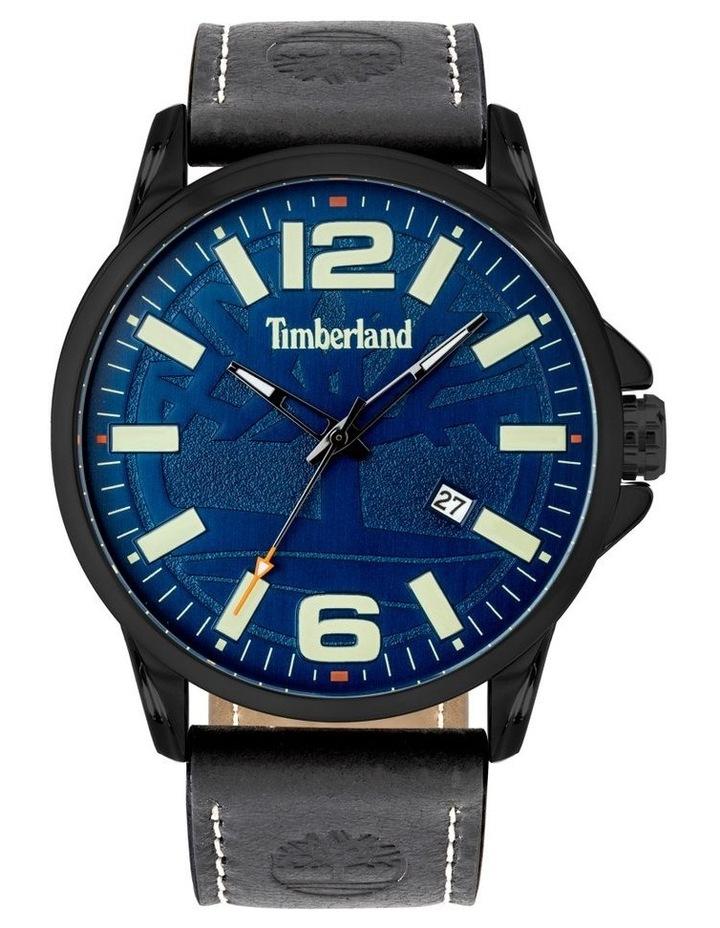 Timberland Bernardston Black Leather Strap Blue Metal Watch image 1