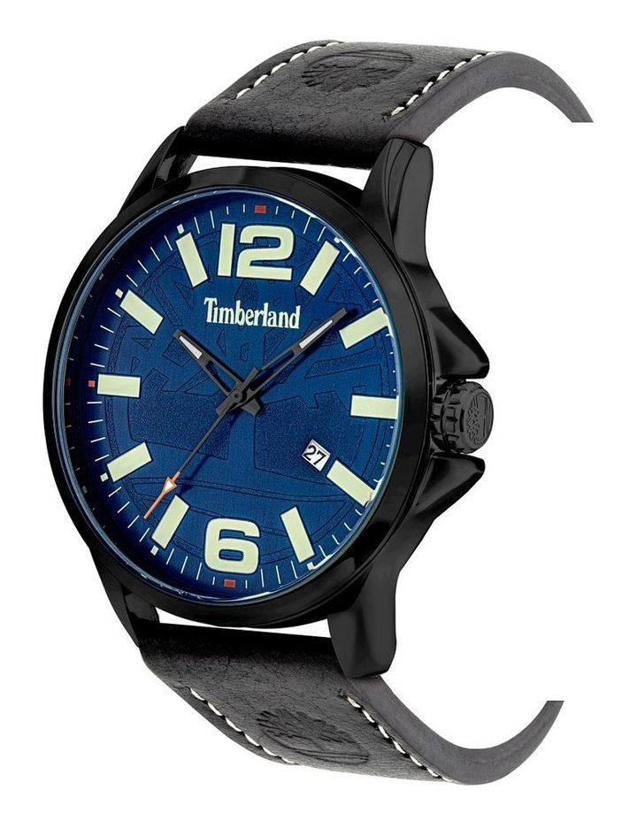 Timberland Bernardston Black Leather Strap Blue Metal Watch image 2