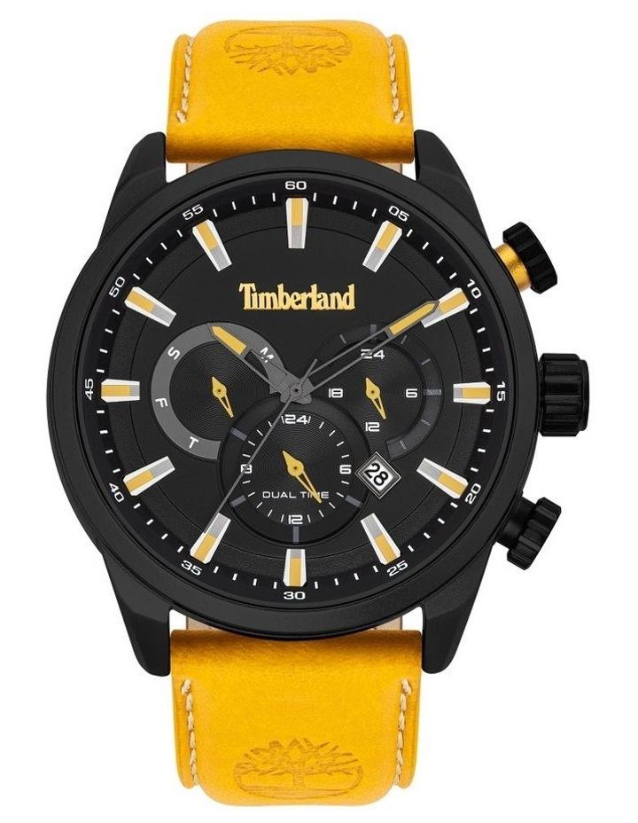 Timberland Millway Orange Brown Leather Strap Black Metal Watch image 1