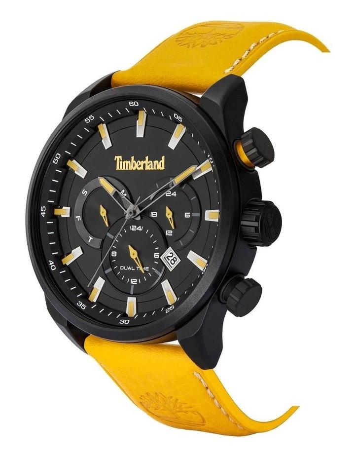 Timberland Millway Orange Brown Leather Strap Black Metal Watch image 2